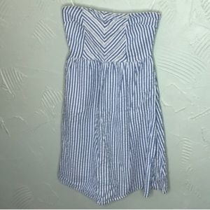 Blue Striped Strapless Dress